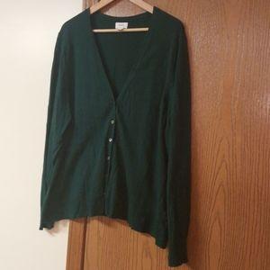 Green V-Neck Button Down Cardigan